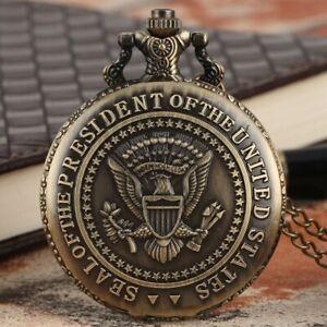 Steampunk Men Women President Seal Pocket Watches Quartz with Chain Full Hunter
