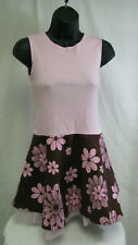Girls Rare Edition sleeveless pink brown cotton blend dress 12