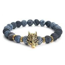 Fashion Mens Natural Weathering Lava Bead Stone Bracelet Gold Dragon Head 8mm