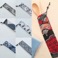 Travel Cutlery Bag Canvas Drawstring Spoon Fork Tableware Case Storage Organizer