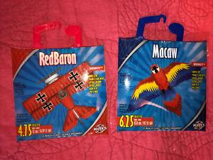 MicroKite - Red Baron Kite Kids Toy 4.75 Inch Mini Mylar Kite Red And Macaw