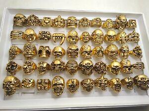 30pcs Wholesale Big Skull Biker Rings Gold Plated Bohemian Statement Punk Ring