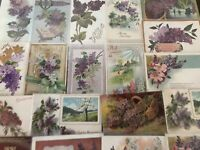 Pretty ~Lot of 20 Lilac Purple Lilacs Flowers~ Vintage Greetings Postcards-a625