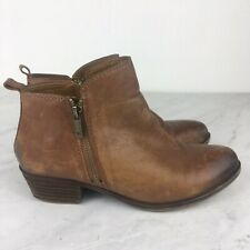 Lucky Brand Boots 7.5 Womens Basel Zip Ankle Booties Light Brown Distressed