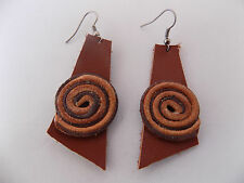 Genuine Leather Handcrafted Jewelry Hook Earring. # 05