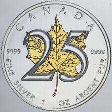 2013 CANADA 5$ GOLD GILDED MAPLE LEAF 1 OZ .999 SILVER COIN IN BOX AMAZING GEM