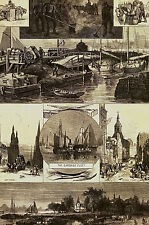 NYC - Cleaning the Streets GARBAGE FLEET Dumping Ground 1877  Art Print Matted