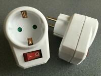 2x Steckdosen mit Schalter schaltbar Steckdosenschalter Stecker Steckerschalter