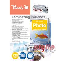 Peach 100 POUCHES A6 10x15cm 125 MICRON FOGLI LUCIDI PER PLASTIFICATRICE A CALDO