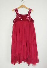 Monsoon girls dress burgundy dark rose special occasion party size 8-9 years