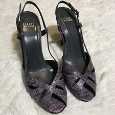 Women's Stuart Weitzman Sz 10 Purple Snakeskin Pattern Open Toe Sling Back Heels