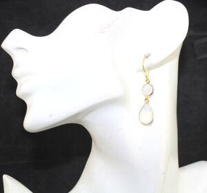 Pear Round Shape Hydro Quartz Chalcedony Gold Plated Drop Dangle Earrings Women