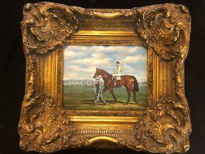 Antique Horse Jockey Oil Painting Equestrian