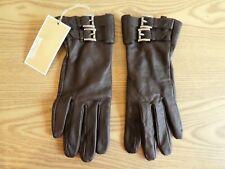 *MICHAEL KORS* Ladies Brown Leather Lined FULL FINGER GLOVES Med BNWT rrp£90