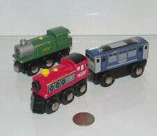 Wooden Railway Blue Red Green Train Lot x3 Engine works w Brio, Thomas & Friends
