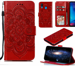 Galaxy A20 Sm A205 Wallet Case Embossed Pu Leather Mandala