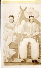 1940's RPPC*COWBOY & SEXY GIRL*CUTOUT PHOTO OP*REAL PHOTO POSTCARD