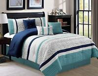 DCP 7Pcs Oversize Luxury Stripe Bed in Bag Microfiber Comforter Set, King, Blue