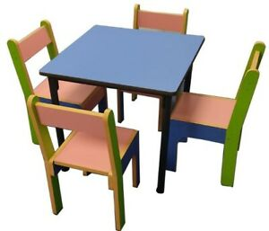 Kids wooden Table 60x60 cm and Chairs Set