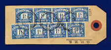 More details for 1915 sg d8 1s bright blue r8(1) label with 4 strips of 4 22 fe 21 cat £80 deoi