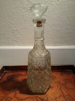 "Vintage Wine Decanter Clear Glass Decorated Bottle Liquor Rum Whiskey 13"" Tall"