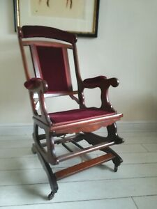 Antique American Rocking Chair Original Castors Red Velvet Project Delivery Poss
