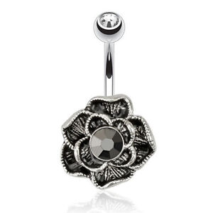 Jewelled Surgical Steel Belly Bar With Vintage Hematite Flower