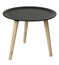 Retro Beistelltisch - Holz Tisch schwarz 38 cm - Couchtisch Nachttisch Sofatisch