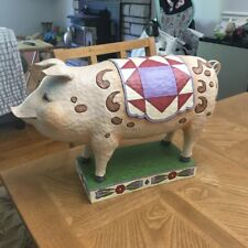 Jim Shore, Prudence the Quilted Pig, Rare ! 2010 model#484283