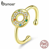 BAMOER Golden Ring S925 Sterling silver  Sweet donuts Dangle For Women Jewelry