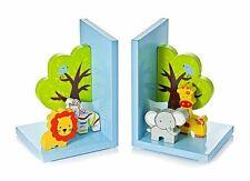 Mousehouse 3D Safari Wooden Children's Animal Bookends for Nursery Bedroom