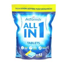 42 x Astonish 5 In 1 Dishwasher Tablets With added Salt & Rinse Aid - Lemon