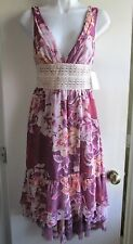 FREE PEOPLE NWT $148 MAROON ROSE GARDEN HIGH LOW EMPIRE WAIST DRESS SZ 0
