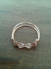 Celtic knotwork copper ring with Goldstone beads size W plus