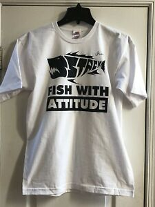 Fish With Attitude T-Shirt (New) White w/ Black Lettering, Short-Sleeve (Medium)
