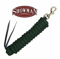 "Showman GREEN 5/8"" x 14' Leather End Nylon Horse Training Lead Rope Brass Snap!"