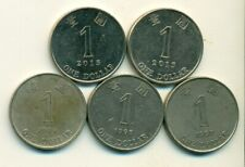 5 DIFFERENT 1 DOLLAR COINS from HONG KONG (1994, 1995, 1997, 2013 & 2015)