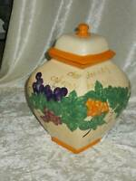 """2006 NONNI'S BISCOTTI COOKIE JAR hand painted raised fruits 12"""" tall"""