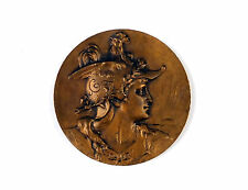 "French Art Nouveau bronze medal ""Beautiful Young Woman"" c1900 F. RASUMNY"