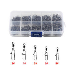 210Pcs Portable Rolling Fishing Swivels Connectors Set With Box Accessories WD