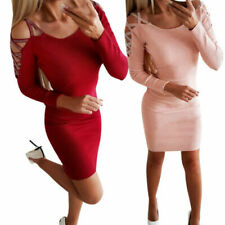 Knit Long Sleeve Red Dresses for Women