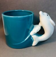 Vtg Bergschrund Seattle Mug Dolphin Handle Ceramic Coffee Tea Cup Sea Foam 1990