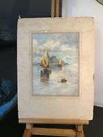 Antique old signed original watercolour painting  L Bowden St Michaels Mount