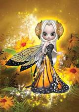 Sunny Fairy Birthday Card for girls and women bright golden yellow sunflowers
