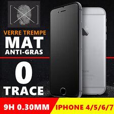 Film protecteur écran Verre Trempé MAT iPhone 4/5/6/S/7/8 effet Anti-trace/gras