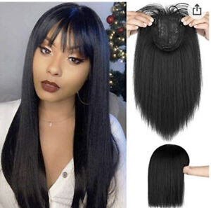 Seamless Human Remy Hair Extensions Replacement Top Piece Topper Hairpiece THICK