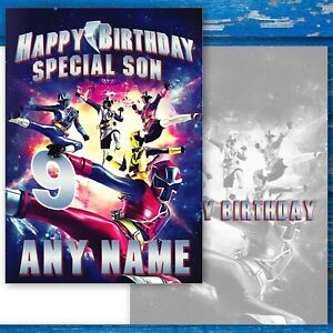 Power Rangers Birthday Card. Customise with Name, Age + Relative. Large A5 size