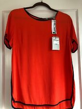 NWT CREATIVE COMMUNE Stitch Fix Orange Navy Short Sleeve Blouse S Small Sml