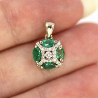 "2Ct Oval Cut Diamond Green Emerald Pendant 18"" Necklace 14K Yellow Gold Finish."