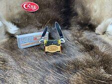 2008 1st Run Case Silver Script Canoe Knife With Green Bone Handles Mint Box 89A